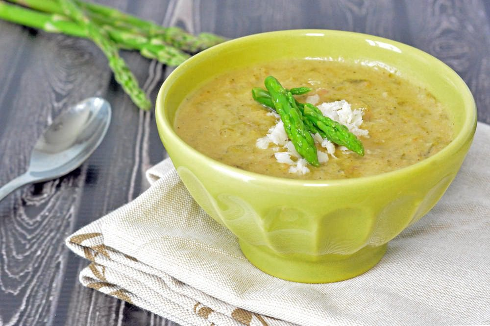 Asparagus Soup with Bacon and Parmesan Cheese