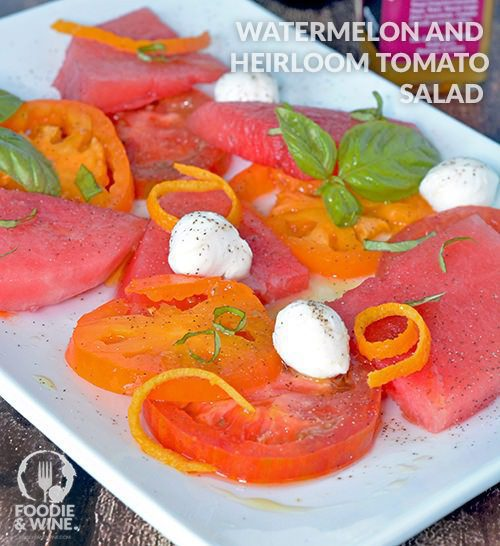 Watermelon and Heirloom Tomato Salad Recipe - Light, refreshing and ready in 5 minutes. Perfect for Whole30 or 21 Day Fix. More no-bake recipes at >> FoodieandWine.com
