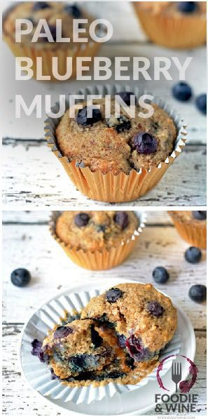 Healthy Blueberry Muffins! Paleo, Vegetarian and Gluten Free. Perfect recipe for those on the 21 Day Fix or Clean Eating (Whole 30). This muffin recipe is a keeper!