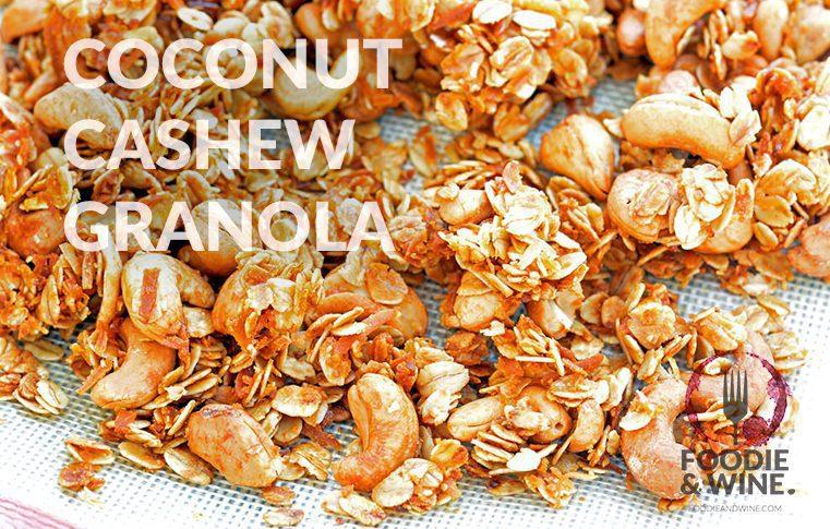 Easy Coconut Cashew Granola Recipe. Perfect healthy snack recipe! More recipes at FoodieandWine.com
