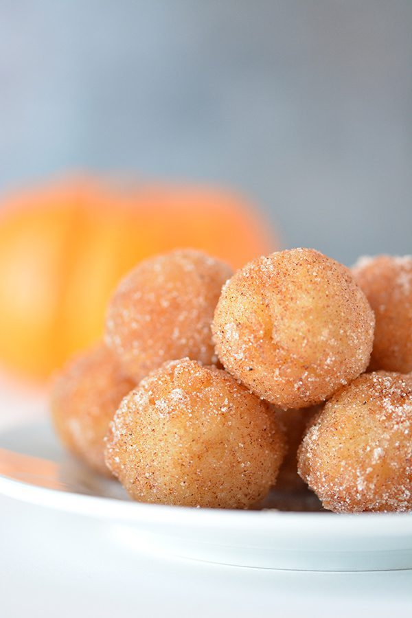 Pumpkin Spice Doughnut Holes - Pumpkin Recipes are plentiful, but this dessert recipe is quick and easy! More holiday recipes at FoodieandWine.com.