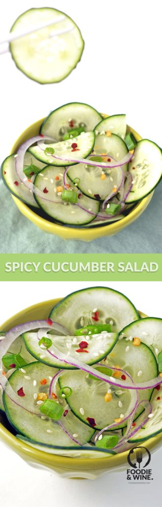 Easy Spicy Cucumber Salad Recipe with onions and red peppers. Non-spicy version also available. This side dish recipe is versatile, vegetarian, vegan and delicious. Add this to your menu plan!