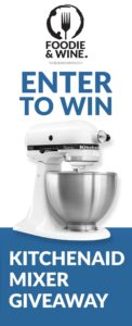 Enter To Win A KitchenAid Mixer for all your holiday recipes! From cookie recipes to bread recipes, this KitchenAid Mixer does it all. Head over to FoodieandWine.com and enter to win this giveaway!