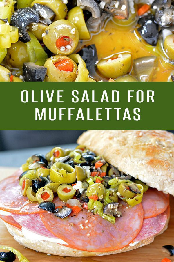 Whip up a batch of this Olive Salad for an authentic Muffaletta Sandwich experience! Or serve it solo on your charcuterie platter. #olives #oliverecipes #saladrecipes #sandwichrecipes #neworleansrecipes #lunchrecipes