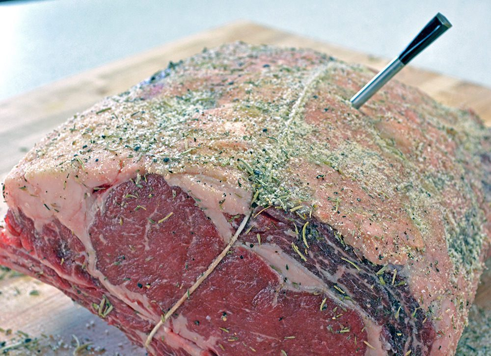 Melt-in-Your-Mouth Garlic Herb Prime Rib Recipe Raw Thermometer