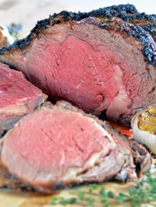 Sliced cooked Melt-in-Your-Mouth Garlic Herb Prime Rib
