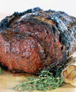 Cooked Prime Rib Recipe on cutting board