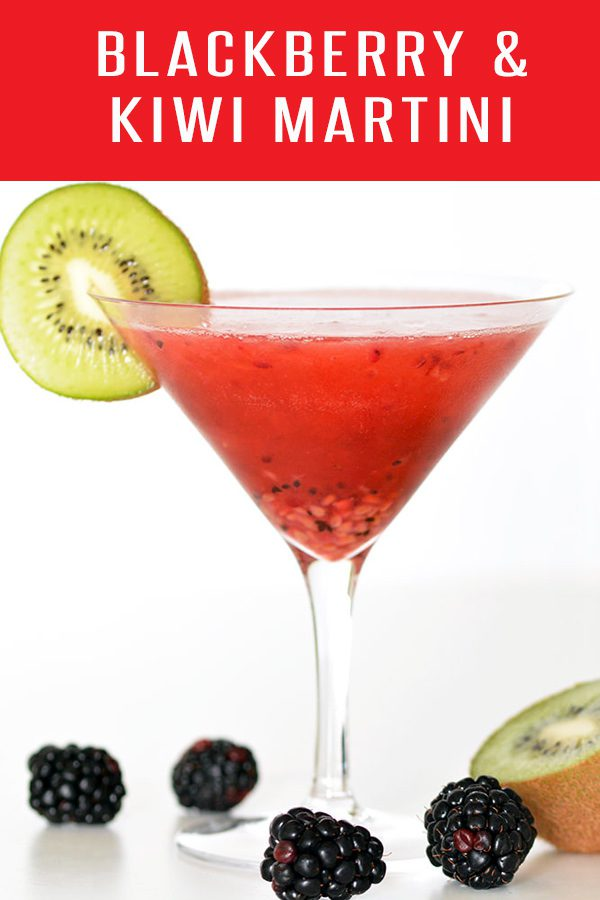 Cheers! Our Blackberry Kiwi Martini Recipe will leave you wanting another. Full of plump blackberries and juicy kiwi. Click for more drink recipes! Cheers!