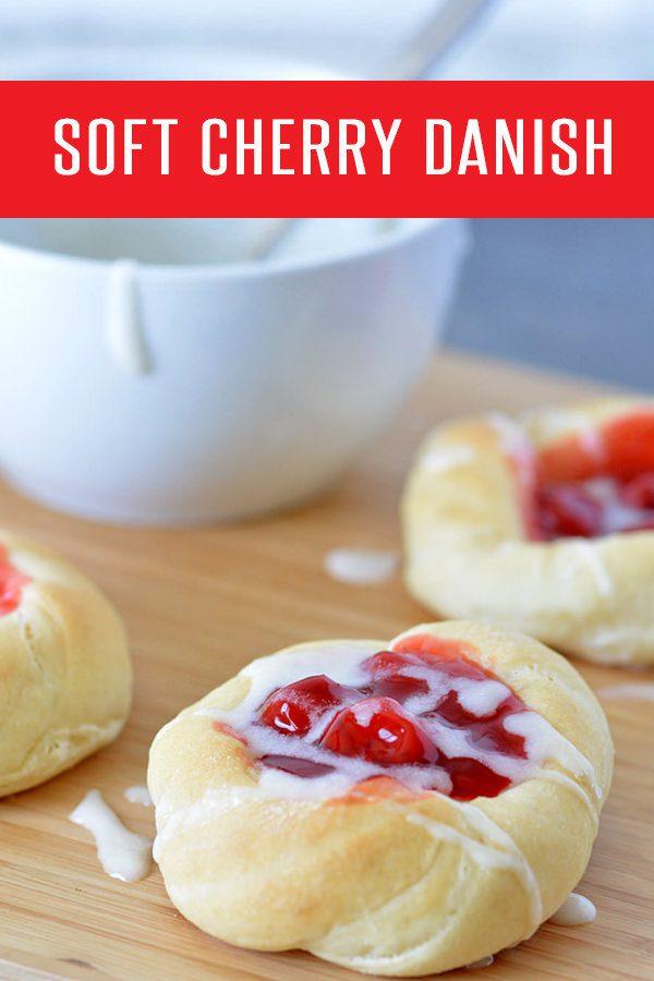 Soft Cherry Danish Recipe! Perfect breakfast recipe or dessert recipe. Kid friendly recipe the whole family will enjoy!