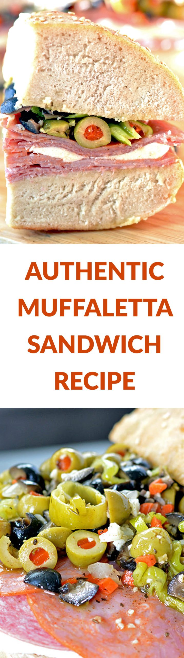 Authentic Muffaletta Sandwich Recipe featuring homemade bread and olive salad! This sandwich recipe is perfect for your Mardi Gras Party! Click for more sandwich recipes: