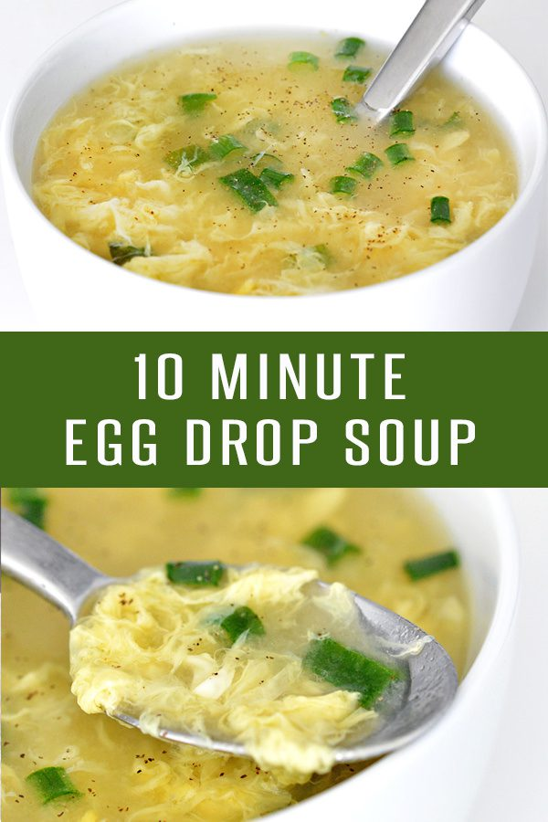 Pinterest pin showing a close up of egg drop soup from two different angles.