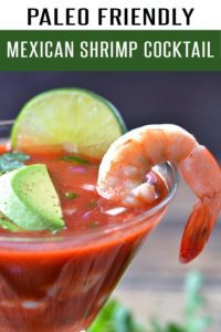 Paleo Recipe! Authentic Mexican Shrimp Cocktail Recipe loaded with shrimp, avocado, lime and flavor. This gluten free Mexican Recipe is perfect for Cinco de Mayo! Ready in under 5 minutes! View more Mexican Recipes at FoodieandWine.com #shrimprecipes #paleorecipes #dinnerrecipes #nobakerecipes #healthyrecipes #mexicanrecipes #cincodemayorecipes