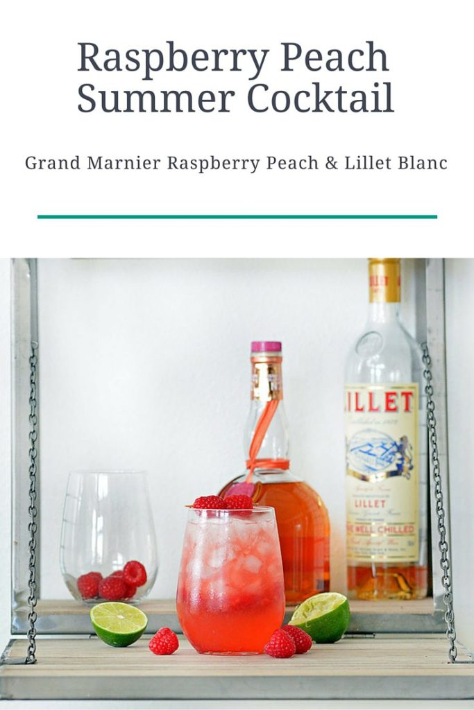 Refreshing Summer Cocktail Recipe featuring Grand Marnier Raspberry Peach and Lillet Blanc! A refreshing combination perfect for your summer bash! Click to see more drink recipes at Foodie and Wine.