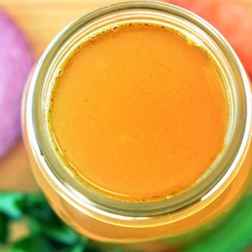 Vegetable Stock - glass jar - top view
