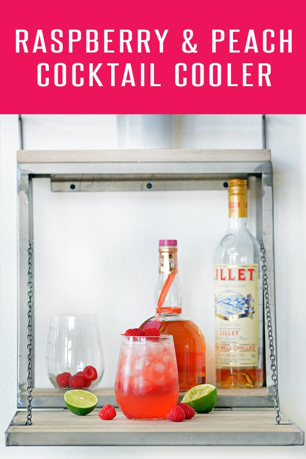 Refreshing Summer Cocktail Recipe featuring Grand Marnier Raspberry Peach and Lillet Blanc! A refreshing combination perfect for your summer bash! Click to see more drink recipes at Foodie and Wine. #drinkrecipes #cocktailrecipes #peachreacipes #raspberryrecipes