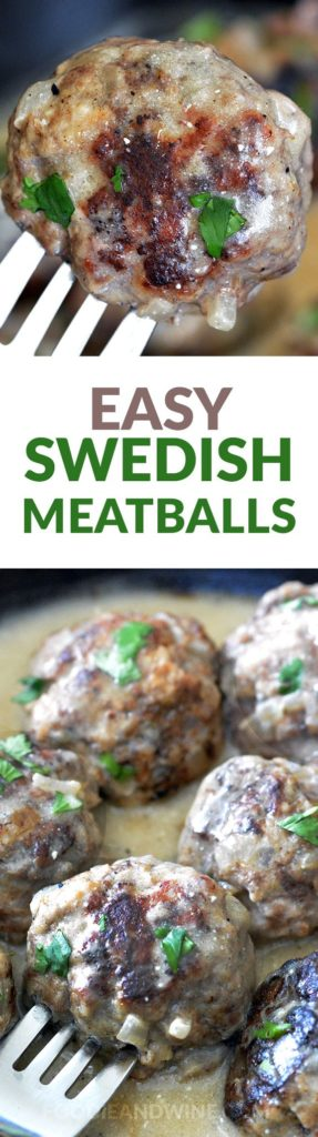 Easy Swedish Meatballs Smothered in Creamy Gravy. This 30 Minute Meal is family friendly and the perfect dinner recipe. Made with beef, pork or turkey! Better than Ikea's Swedish Meatballs Recipe.