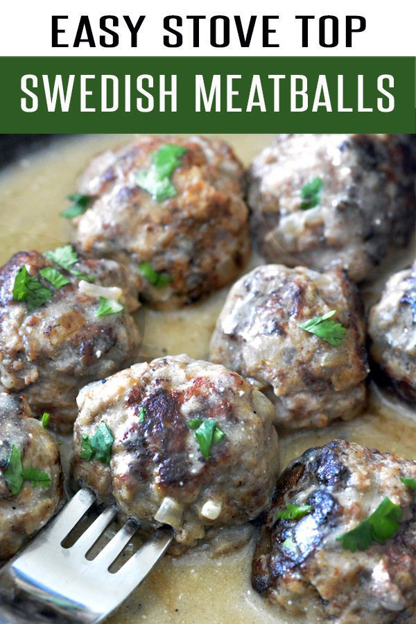 Easy Swedish Meatballs Smothered in Creamy Gravy. This 30 Minute Meal is family friendly and the perfect dinner recipe. Made with beef, pork or turkey! Better than Ikea's Swedish Meatballs Recipe. #dinnerrecipes #30minutemeals #meatballrecipes #beefrecipes