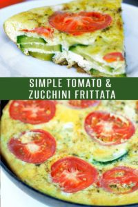 Tomato and Zucchini Frittata! Use up those summer vegetables! Loaded with flavor and ready in under 30 minutes. Perfect dinner recipe or breakfast recipe! #breakfastrecipes #dinnerrecipes #healthyrecipes #30minutemeals #zucchinirecipes