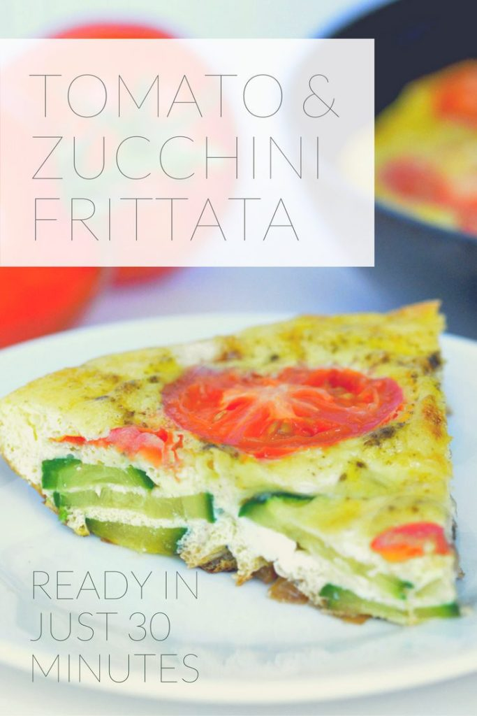 Tomato and Zucchini Frittata! Use up those summer vegetables! Loaded with flavor and ready in under 30 minutes. Perfect dinner recipe or breakfast recipe!