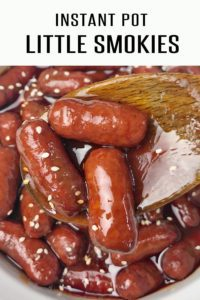 Instant Pot Little Smokies Recipe takes Only 1 Minute of Cooking Time! Perfect Holiday Appetizer. Quick and Easy in the Instant Pot. #4thofjulyrecipes #appetizerrecipes #littlesmokiesrecipes #memorialdayrecipes