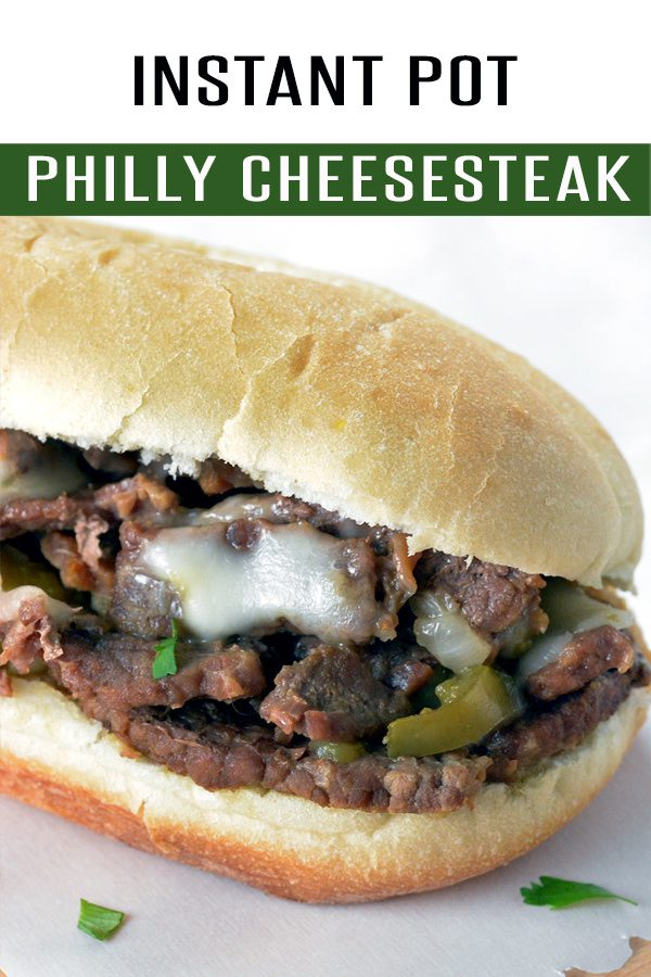 Easy Philly Cheesesteak Sandwich loaded with ribeye, cheese and flavor! Ready in just under 25 minutes using your Instant Pot. This Instant Pot recipe will be a family favorite! Find more at FoodieandWine.com! #instantpotrecipe #dinnerrecipes #30minutemeals