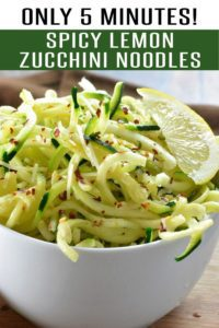 Quick and Easy Spicy Zucchini Noodles with Lemon. Ready in under 5 minutes. Loaded with red pepper flakes, juicy zucchini and lemon this will make your family and heart smile. Pair it with our Lemon and garlic shrimp to make it a meal! #healthyrecipes #zucchinirecipes #zucchininoodles #21dayfixrecipes