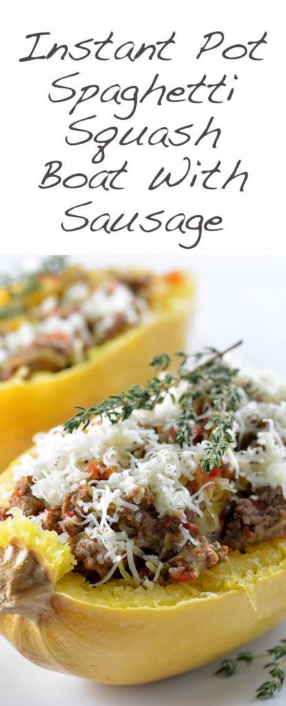 Hearty Spaghetti Squash Boats made entirely in the Instant Pot! This Spaghetti Squash Recipe is loaded with sausage, cheese and flavor. Ready in under 30 minutes!