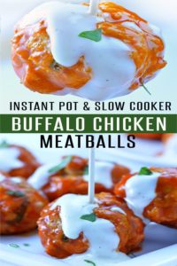 Easy Buffalo Chicken Meatballs made in the oven, slow cooker or Instant Pot. Ready in as little as 20 minutes! Perfect game day appetizer or low calorie meal. | foodieandwine.com #appetizerrecipes #chickenrecipes #meatballrecipes #heathlyrecipe #30minutemeals #instantpot #instantpotrecipes