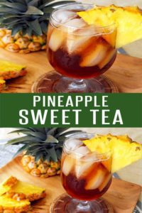 Easy Pineapple Sweet Tea. Perfect drink recipe for Spring and Summer. Loaded with fresh pineapple and black tea! More drink recipes at FoodieandWine.com