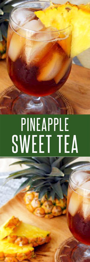 Easy Pineapple Sweet Tea. This twist on southern sweet tea is loaded with real pineapple flavor. Just 3 Ingredients! #drinkrecipes #recipes #pineapple #sweettearecipes #drink #nonalcoholicdrinks
