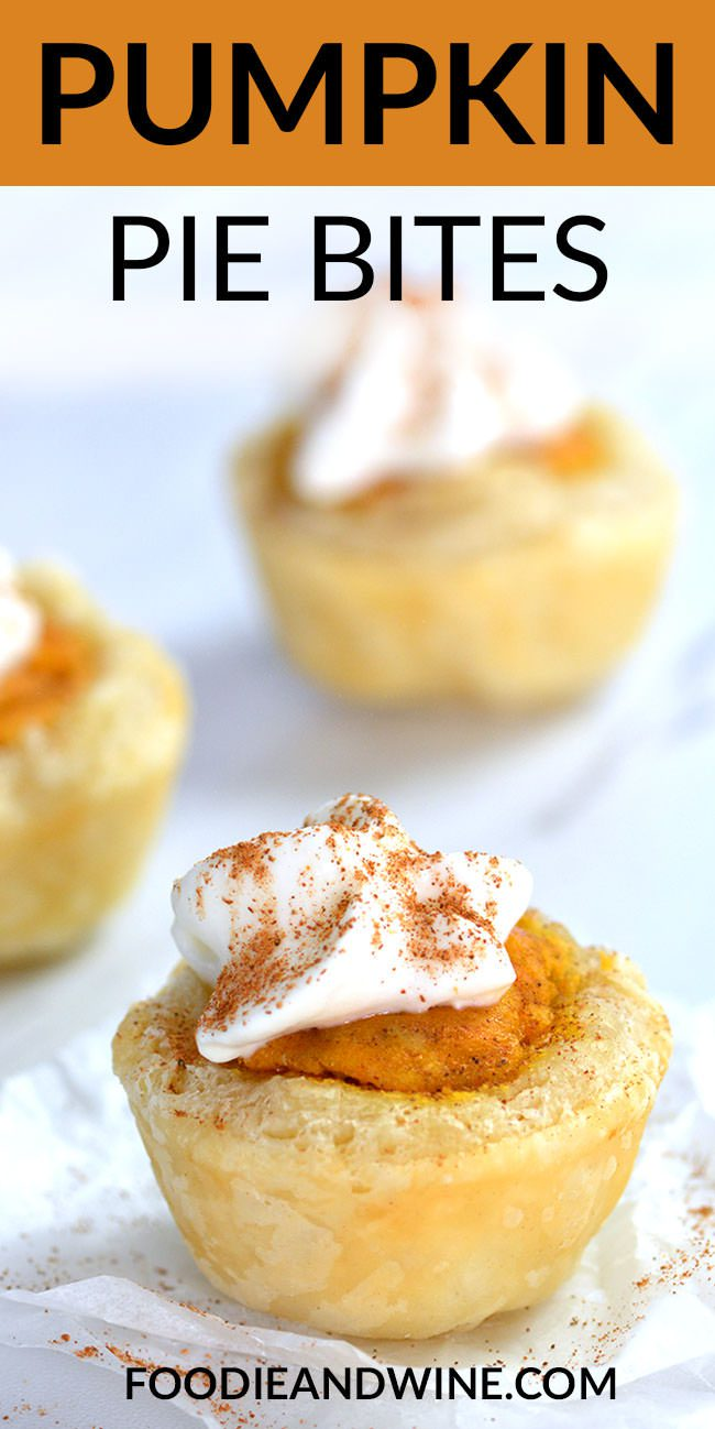 Easy Pumpkin Pie Bites are loaded with buttery flakey crust and pumpkin flavors in a bite size form! This is our most popular pumpkin recipe. For more visit FoodieandWine.com . #pumpkinrecipes #fallrecipes #holidayrecipes #easydessertrecipes #dessertrecipes #pierecipes