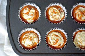 Pumpkin Cream Cheese Muffins - in muffin tray
