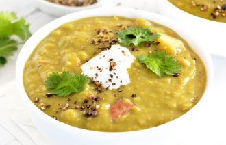 Split Pea Soup Slow Cooker, Instant Pot or Stove Top! Loaded with Ham or leave out for a Split Pea Soup Vegetarian option.