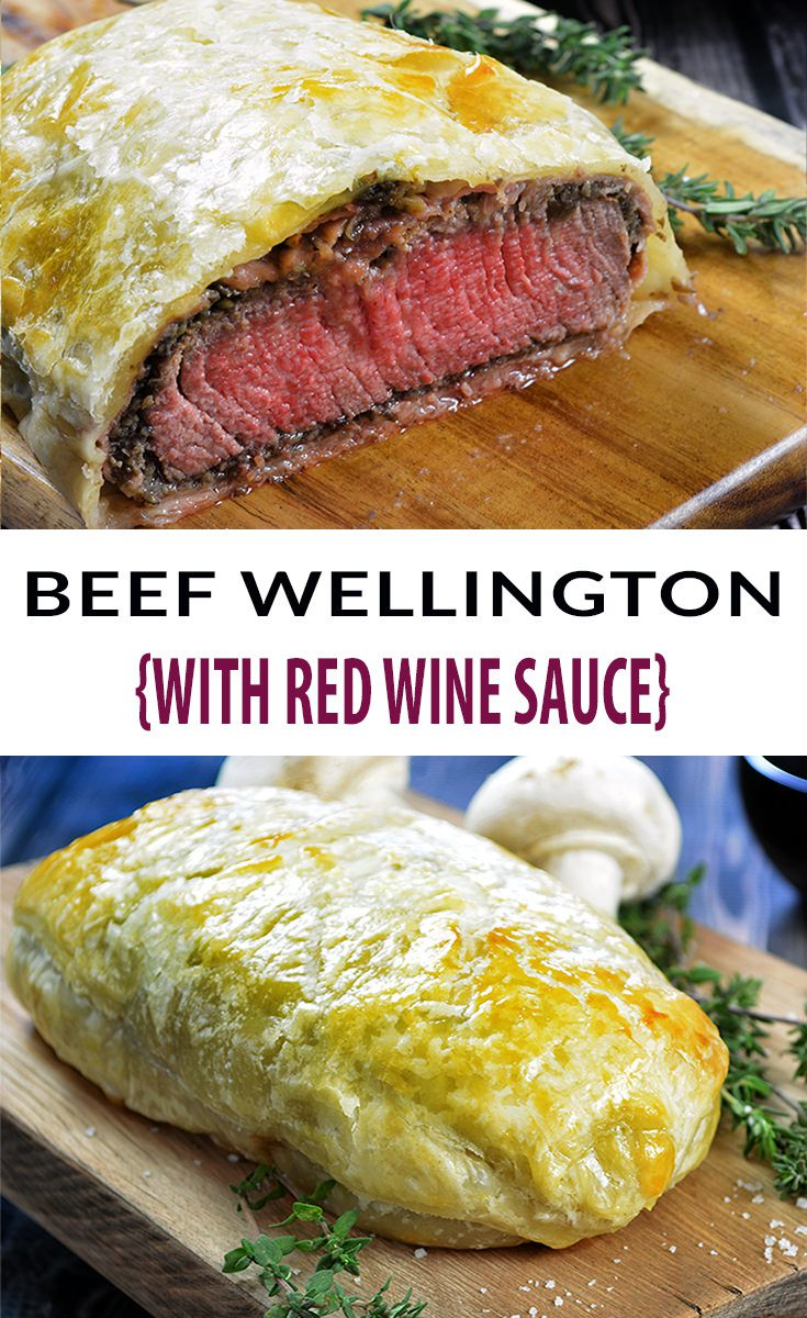 Easy Individual Beef Wellington Recipe. Decadent and tender filet mignon, topped with a rich mushroom duxelles, delicate prosciutto and wrapped in a golden, buttery puff pastry. Individual Beef Wellington is the perfect Valentine's Day meal. #valentinesdayfood #valentinesdayideas #valentinesdaydinner #filetmignon #beefrecipes #beeftenderloinrecipes #puffpastryrecipes #dinnerrecipes #redwinerecipes #beefwellington #beefwellingtonrecipe #beefwellingtongordeonramsey #beefwellingtoneasy #beefwellingtonsauce