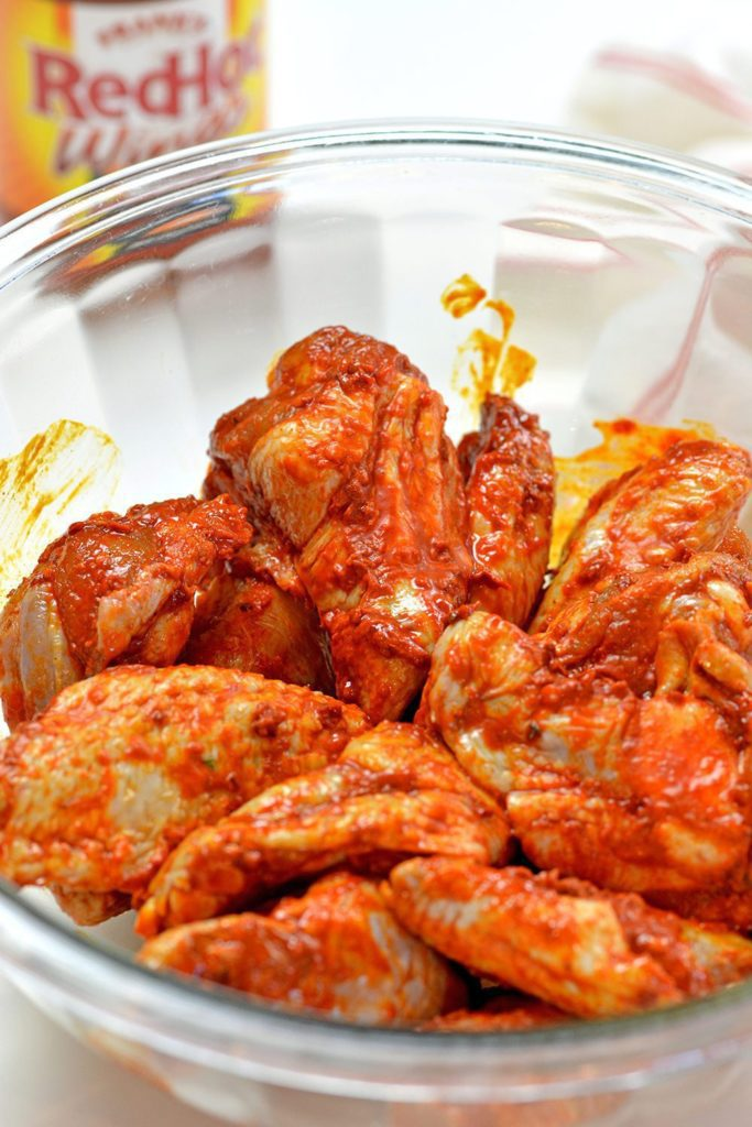 Chicken wings covered with buffalo sauce