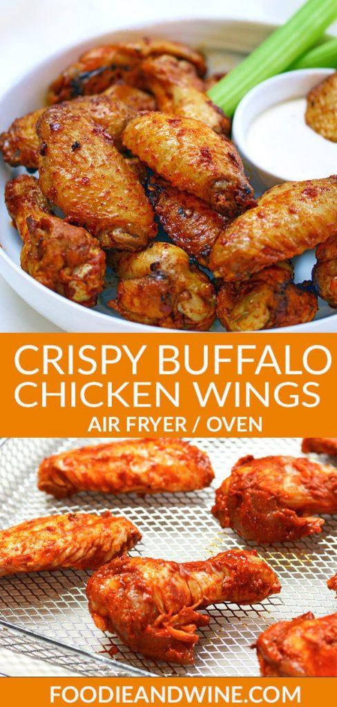 Pinterest pin of crispy buffalo chicken wings