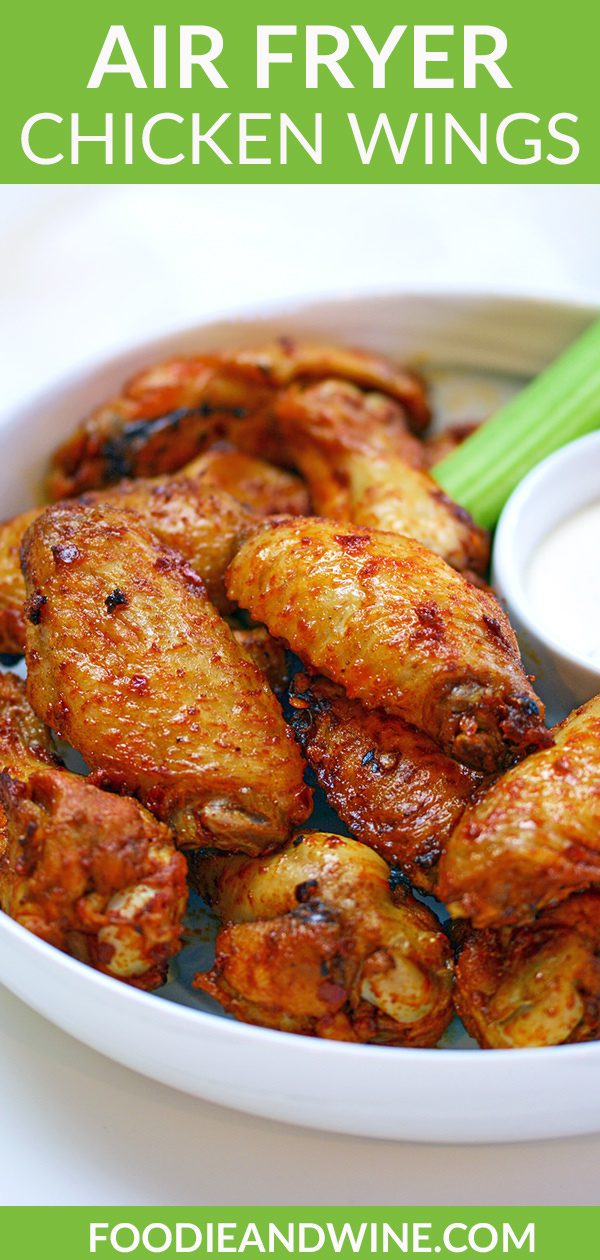 Pinterest pin of air fried chicken wings with a side of ranch