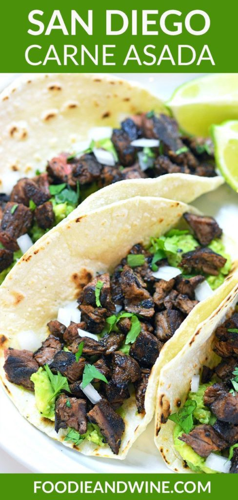 Pinterest Pin showing three carne asada tacos on a white plate.