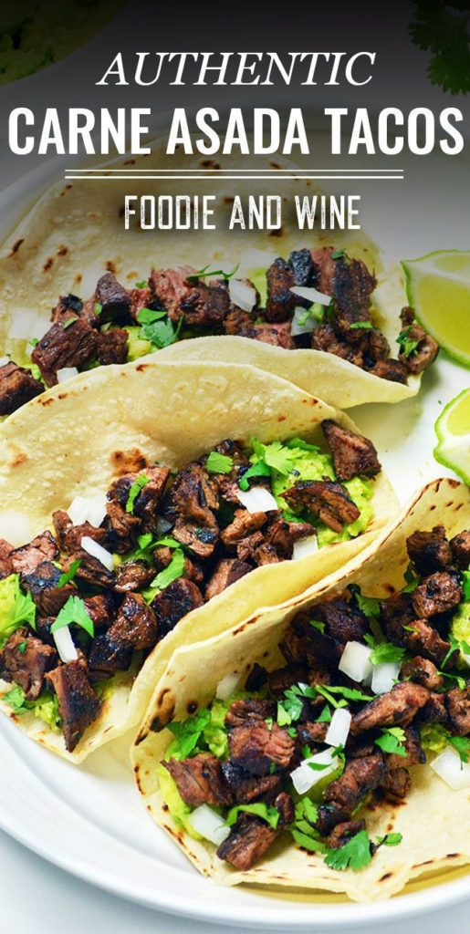 Pinterest pin showing 3 fully loaded carne asada tacos on a white plate.