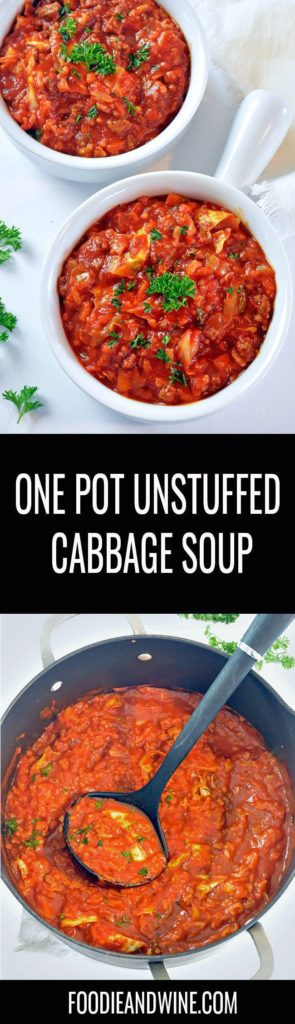 Pinterest pin showing two white bowls full of red unstuffed cabbage soup topped with green parsley. Also includes a photo on the soup in a large non-stick pot.