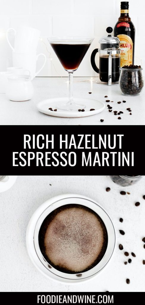 Pinterest pin showing a martini glass filled with an espresso martini. Glass is sitting on a white plate with coffee beans. Bottom photo shows a top down shot of an espresso martini.