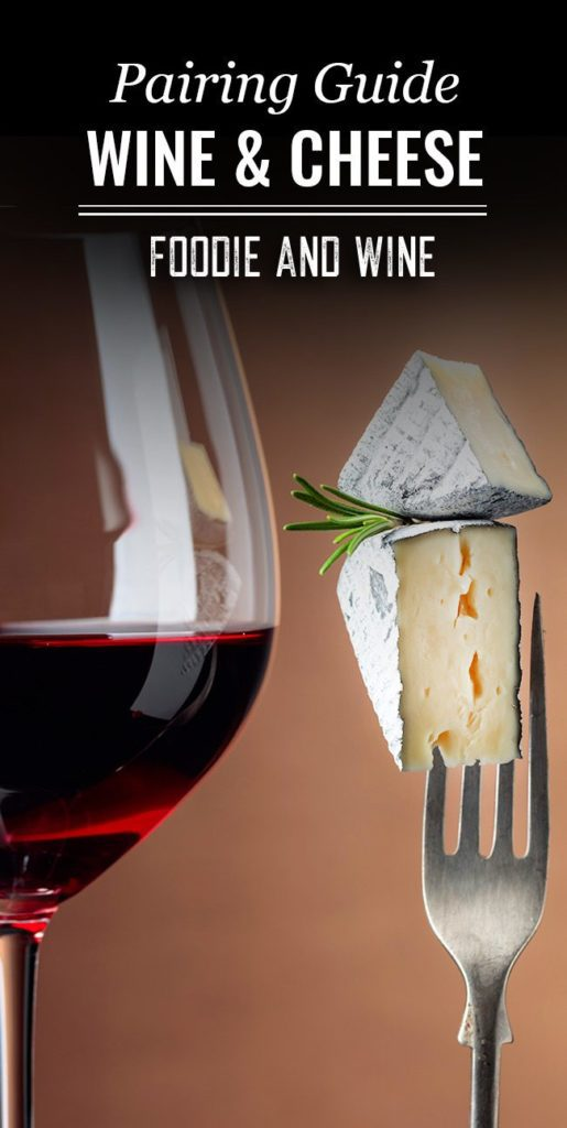 Pinterest pin showing a glass of red wine next to an upright fork with two wedges of cheese on the end.