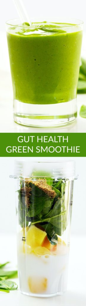 Pinterst Pin of a green smoothie in a small glass with a glass straw. Also shows the ingredients in a blender un-mixed.