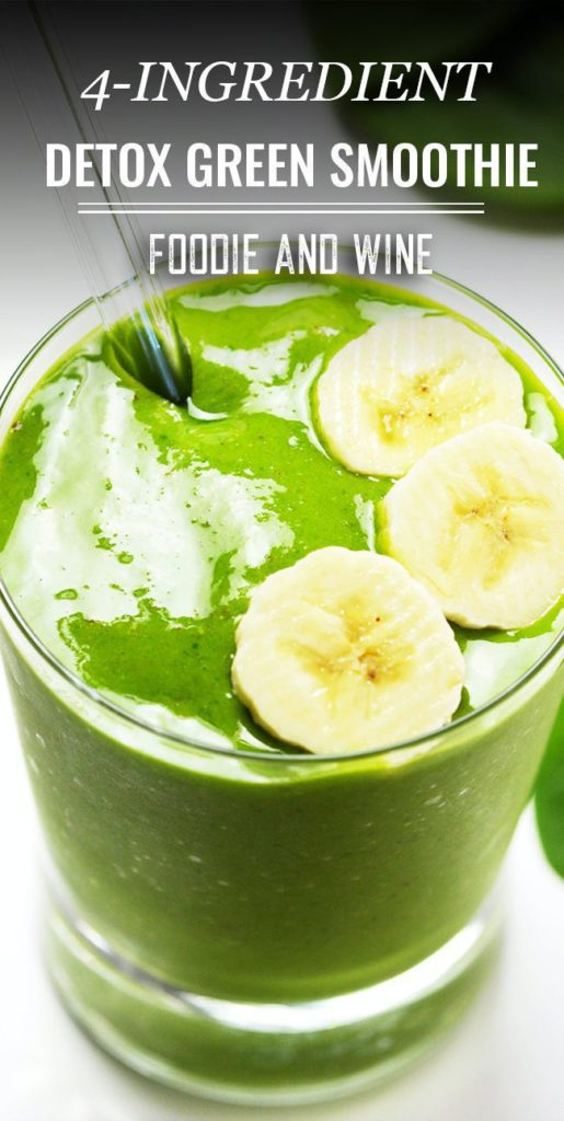 Pinterst Pin of a green smoothie topped with 3 banana slices in a small glass with a glass straw.