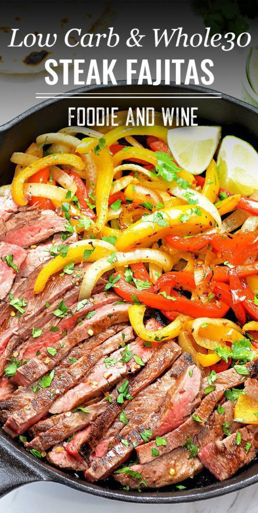 Pinterst pin showing Mexican Fajitas and onions and peppers in a black cast iron pan