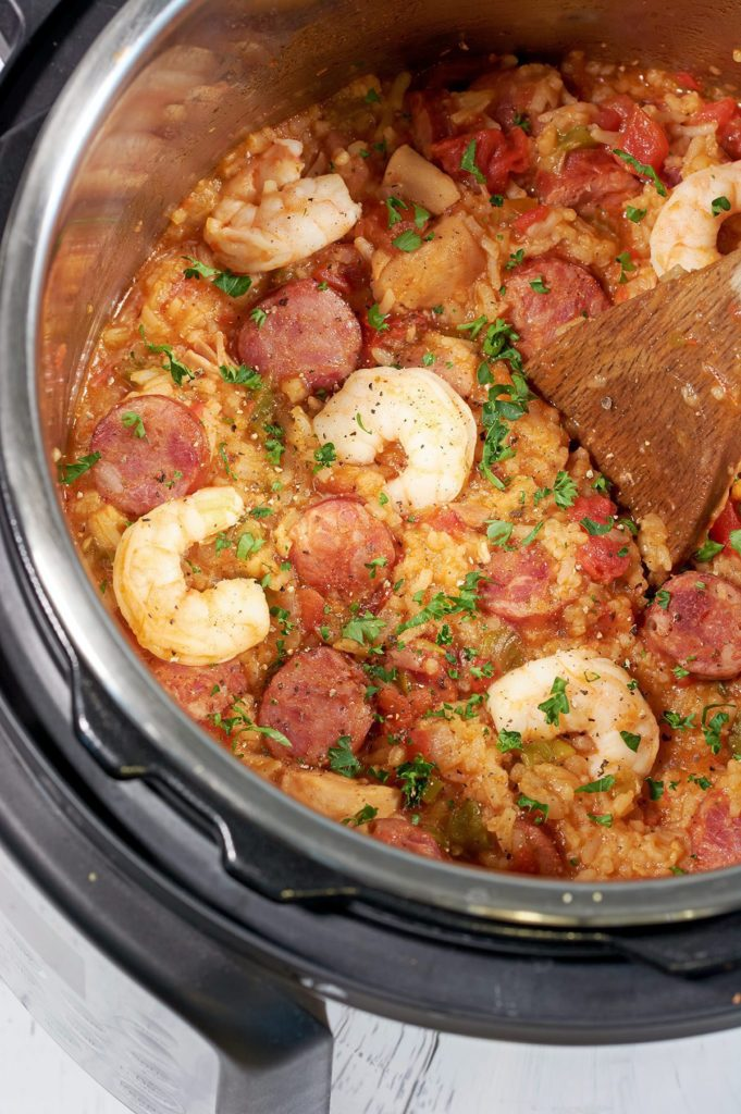 Jambalaya in an instant pot after being cooked.