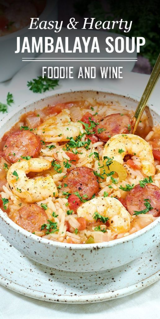 Pinterest pin showing an upclose shot of Jambalaya Soup on a spreckled white bowl.