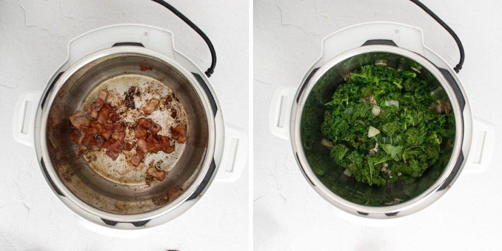 Side by Side photo showing cooked bacon in an instant pot on the left and cooked kale and potatoes in an instant pot on the right.